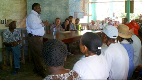 Haiti, community meeting in 2012 to discuss the current housing needs of the local community